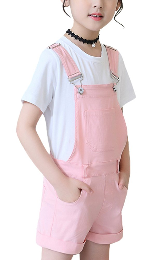 Luodemiss Girl's Short Denim Jumpsuit Various Color Cotton Romper Shortall Pink 12 Years
