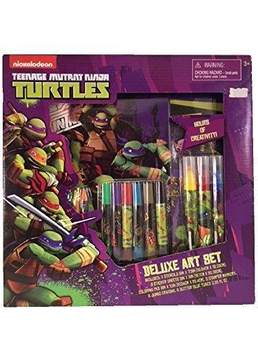 Turtles Deluxe Art Set Stencils Stickers Coloring Pad Stamper Markers Glitter Glue (Donetello Ninja Turtle)