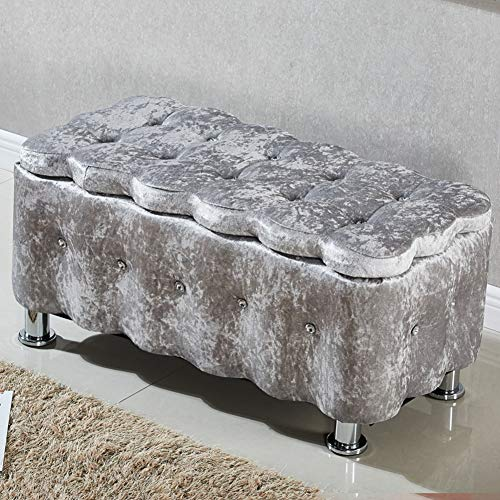 HJYSQX Tufted Storage Ottoman, European Style Upholstered Shoe Bench Fabric Storage Bench Footrest Stool Sofa Storage Rest Stool-U 40x76cm(16x30inch)