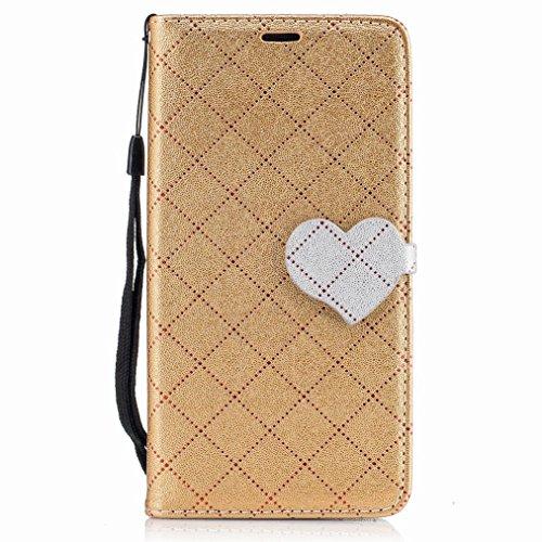 Yiizy LG K7 / X210 / X210DS / MS330 Custodia Cover, Amare Design Sottile Flip Portafoglio PU Pelle Cuoio Copertura Shell Case Slot Schede Cavalletto Stile Libro Bumper Protettivo Borsa (Dorato)