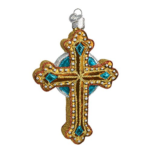 Old World Christmas Ornaments: Jeweled Cross Glass Blown Ornaments for Christmas Tree