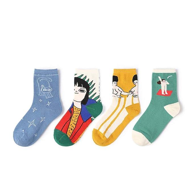 Hyf Socks 4 Pares Harajuku Kuso Cartoon Calcetines De Las Mujeres Kawaii Japonés Calcetines Divertidos Streetwear
