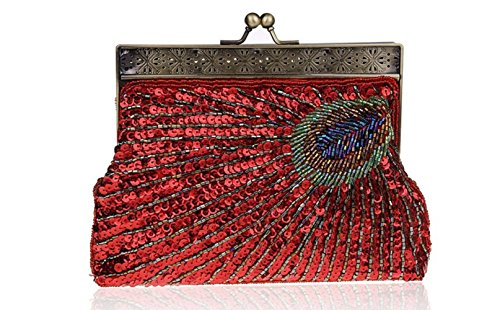 Women Vintage Evening Qipao Bag Beaded Bag Clutch Pop Bag Dinner Peacock Bag Red Party RSqFxrR