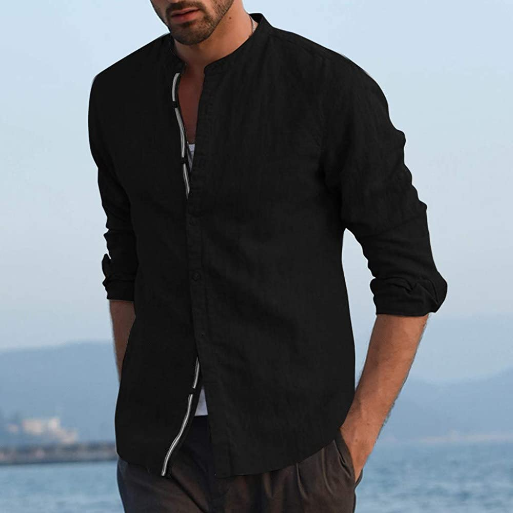 SoonerQuicker Camisa de Hombre T Shirt Blusa de Lino Holgada para Hombre Patchwork Color sólido Camisas con Cuello Alto y Manga Larga Blusa tee(Negro M): Amazon.es: Ropa y accesorios