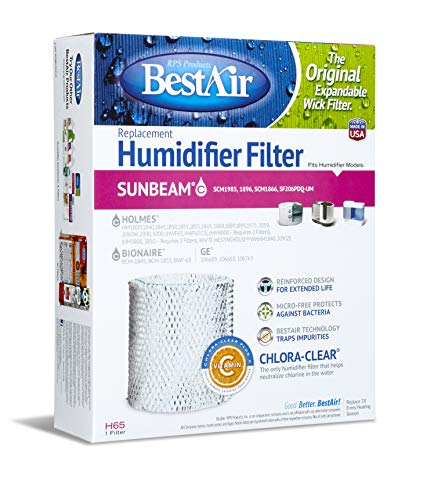 "Price comparison product image BestAir H65-PDQ-4 Extended Life Humidifier Replacement Paper Wick Humidifier Filter,  For Holmes,  Sunbeam,  White-Westinghouse,  GE & Bionaire Models,  8.2"" x 2.7"" x 10"",  Single Pack"