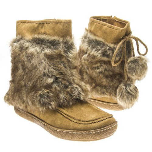 Fur Mukluks (Qupid Womens PAXTON12X Closed Round Toe Faux Fur Furry Tie Up Pom Pom Ball Ankle Bootie Boots Flat Mukluk Shoes, Camel Light Brown Faux Suede, 6.5 B (M) US)