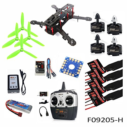 QWinOut 4-Axis Aircraft Kit:Carbon Fiber Frame + Motor + ESC + QQ Flight Controller + Battery + 8CH Transmitter and Receiver