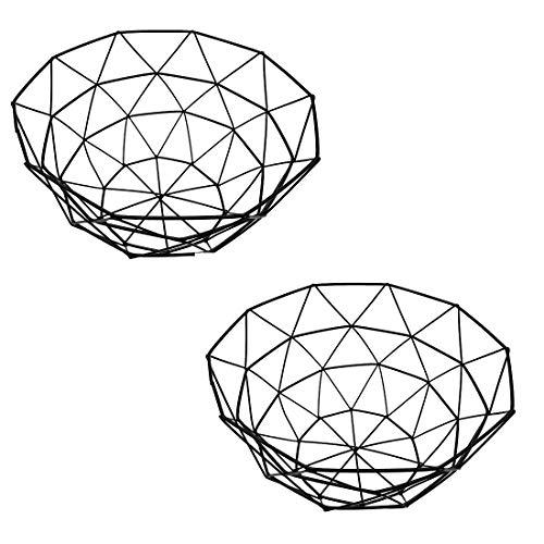2 Pack Creative Metal Wire Iron Fruit Bowl Countertop Storage Basket Dish Fruit Vegetables Storage Basket for Kitchen…