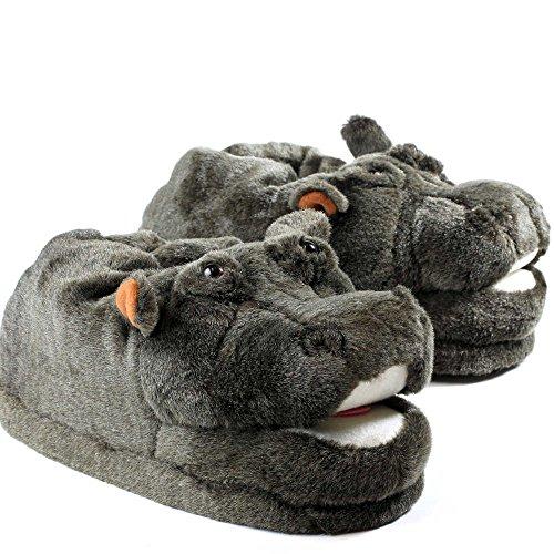 Sleeperz Hausschuhe Nilpferd - Rutschfeste Plüsch Tierhausschuhe
