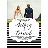 Stripes And Picture Wedding Invitation