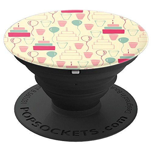 Party Time Cake Balloons Punch Cup Pattern - PopSockets Grip and Stand for Phones and Tablets