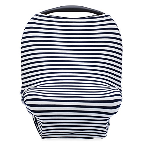 Parker Baby 4 in 1 Car Seat Cover for Boys - Stretchy Carseat Canopy, Nursing Cover, Grocery Cart Cover, Infinity Scarf - Navy/White Stripes