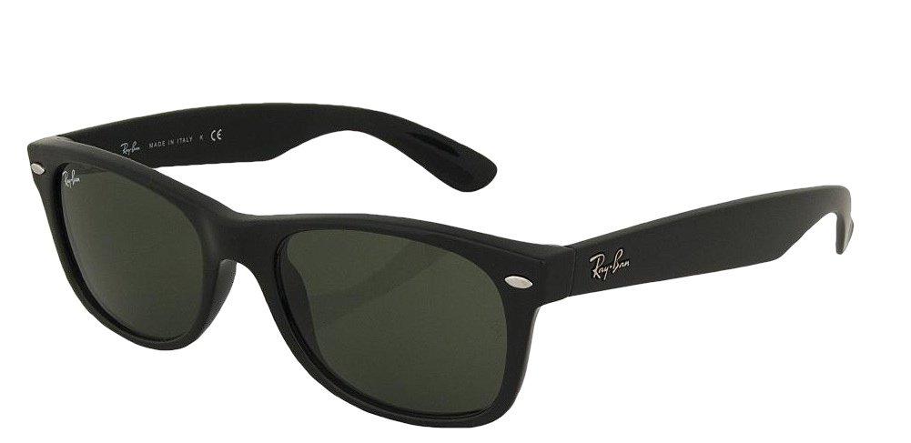 Ray-Ban RB2132 New Wayfarer Sunglasses Unisex (Matte Black Frame Solid Black G15 Lens, 55) by Ray-Ban