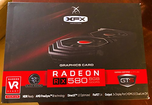 XFX GTS Black Core Edition Radeon RX 580 DirectX 12 RX-580P828D6 8GB OC+ 1405 MHz PCI Express 3.0 (Black Edition Graphics Card)