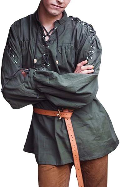 Hombre Vintage Camisa Medieval Lace-up Camisa Casual Cuello en V Color Sólido T-Shirt Tops Renacimiento Victoria Estilo Camisa Pirata (Sin Cinturón): Amazon.es: Ropa y accesorios