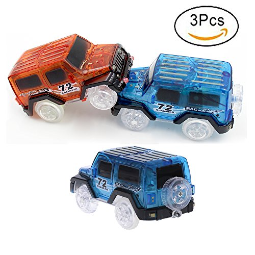 Magic Tracks Cars Bend Flex and Glow in the Dark, 3 pcs Kids LED Electric Track Car Toy Glow in the Dark for Magic Flexible Racing Track (Blue jeep 2 + Red jeep)