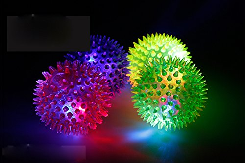 5pcs Flashing Light Up Elastic Spike Ball Toys for Baby and Kids,Novelty 5.5cm Massage Sensory Balls for Boys and Girls Birthday Gift Sunny
