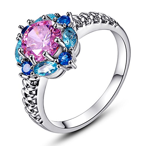Veunora Beautiful Flower Design 925 Sterling Silver Created Pink Topaz Filled Ring for Women Size 6