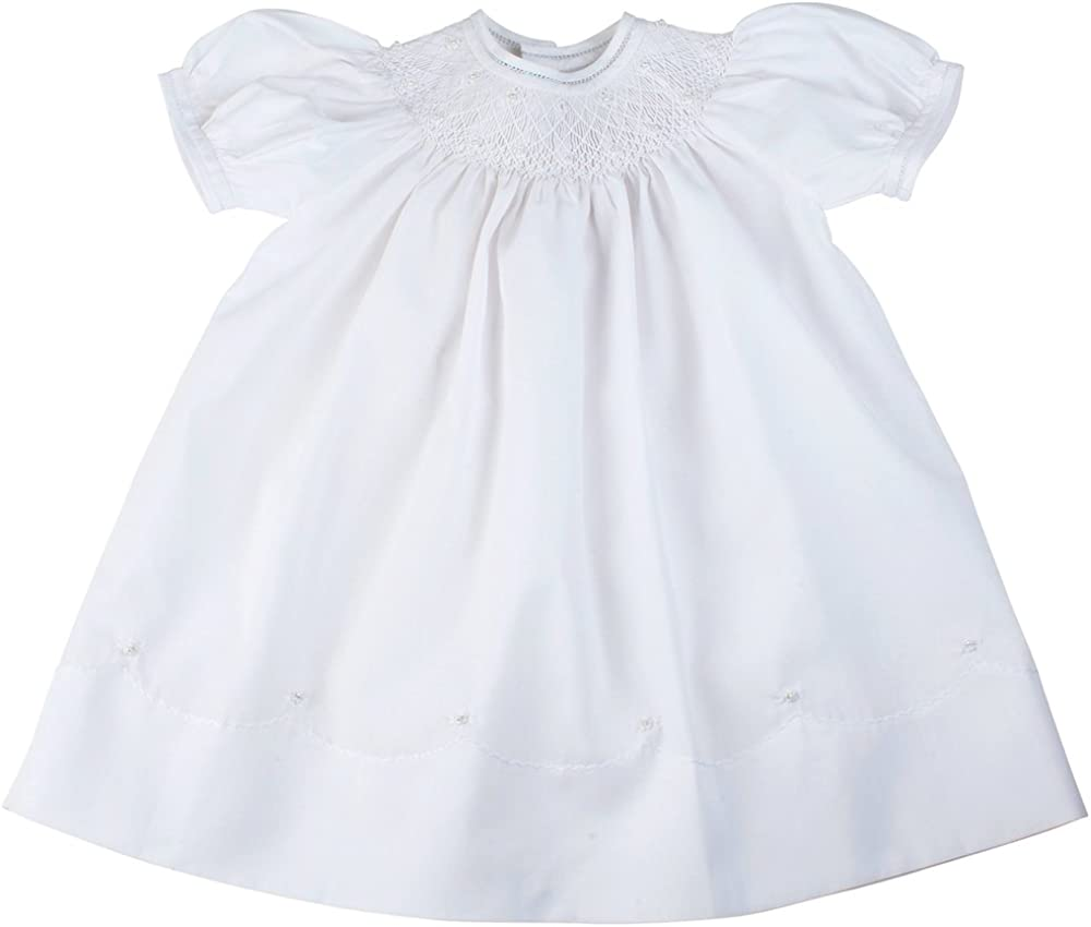 Feltman Brothers Girls White Smocked Christening Bishop Dress with Pearls