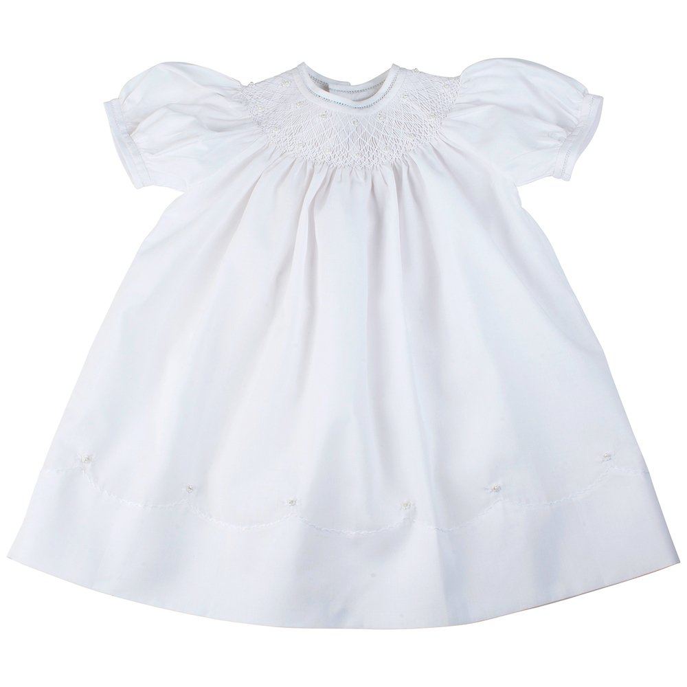 a566c2aa3999a Amazon.com: Feltman Brothers 17448 Girls Dressy White Smocked Neckline Dress  12-24 Months.: Clothing