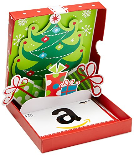 - Amazon.com $75 Gift Card in a Holiday Pop-Up Box