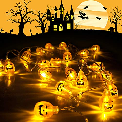 HOPESOOKY 3D Jack-O-Lantern Halloween Decoration Lights,30LED 11Ft Battery Operated Pumpkin String Lights Halloween Light Outdoor Warm White by HOPESOOKY