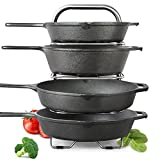 "BetterThingsHome 5-Tier Height Adjustable Pan and Pot Organizer Rack: Adjust in increments of 1.25"", 10, 11 & 12 Inch Cookware Lid Holder, Stainless Steel (16.5"