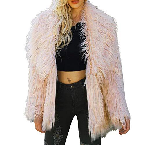 Realdo Womens Shearling Cardigan, Clearance Sale Warm Long Faux Fur Solid Parka Jacket Outerwear(Large,Beige)