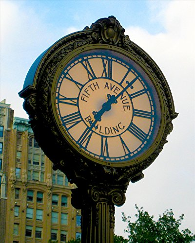 New York Poster Fifth Avenue Clock Photograph 16x20 - 5th Manhattan Avenue Stores