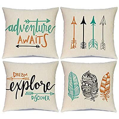 Ueerdand Set of 4 Adventure Arrows Throw Pillow Covers Cushion Case Outdoor Pillow Case Decor for Car Sofa Bed Couch 18 x 18 Inch - Unique design - There are 4 pillow covers with invisible zippers. The one side of them is individually printed with printings. The other side is blank, providing you with an opportunity to DIY High quality - Made of high-quality cotton linen, the pillow cover is perfect home office car decoration, comfortable, soft and durable Dimension - 45 x 45 cm/ 18 x 18 inch, square shape, fit for most sizes of pillows(Inserts are Not Included) - patio, outdoor-throw-pillows, outdoor-decor - 51%2BTMH sTeL. SS400  -