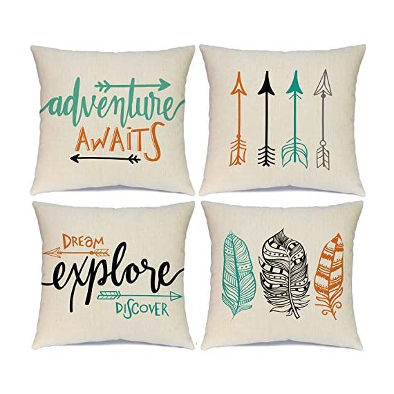 Calayinuo Set of 4 Adventure Arrows Throw Pillow Covers Cushion Case Outdoor Pillow Case Decor for Car Sofa Bed Couch 18 x 18 Inch - Suitable Occasions: Can be applied for home decoration at festival, also suitable for special parties and events High quality: Breathable linen fabric and handmade make it comfortable, durable, beautiful. Machine washable and the hands washable. The pattern does not fade. Hight quality hidden zipper to meet an elegant look What You Get: Brand new 4 PCS 18 x 18 inch Pillow Cover, No Insert and Filler. Our pillow cover fits 18x18 inch insert or smaller insert. Pattern is only on the front and no printing on the back - patio, outdoor-throw-pillows, outdoor-decor - 51%2BTMH sTeL. SS570  -
