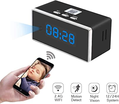 Camara Espia Oculta WiFi Reloj Despertador 1080P TANGMI Mini ...