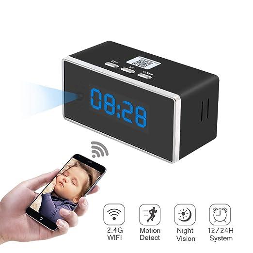 Camara Espia Oculta WiFi Reloj Despertador 1080P TANGMI Mini Videocámara Inalámbrica Detección de Movimiento con Visión Nocturna Seguridad Cámara ...