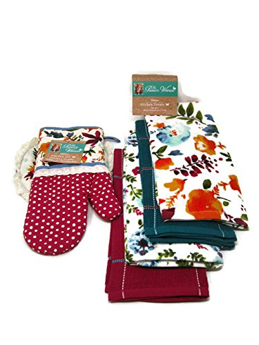 Pioneer Woman Willow Oven Mitt/Pot Holder and Kitchen Towels 6 Pc Set/Bundle
