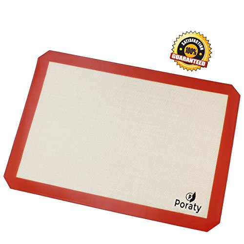 Poraty Silicone Baking Mat Half Baking Sheet Size 11 inches x 16 5/8 inches - Non Stick Cookie Sheet - Dishwasher Safe