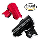 2 Pair Youth Soccer Shin Guards, Kids Soccer Shin Pads Board, Lightweight and Breathable Child Calf Protective Gear Soccer Equipment for 5-12 Years Old Boys Girls Children Teenagers (Black&Red)