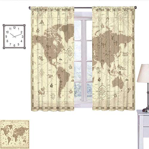 alisoso Map Black Out Window Curtain Aged Retro Styled Map of The World with Mountains Fantasy Monsters and Compass Curtain Valance Sepia Light Yellow W63 x L72