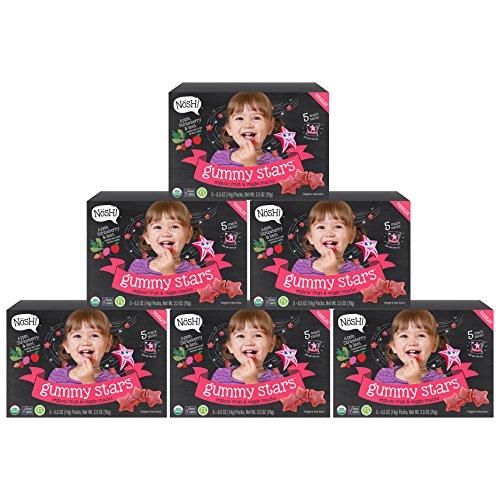 Nosh Gummy Stars Organic Fruit & Veggie Chews Toddler Snack, 5 Snack Packs, Apple, Strawberry & Beet (Pack of 6)