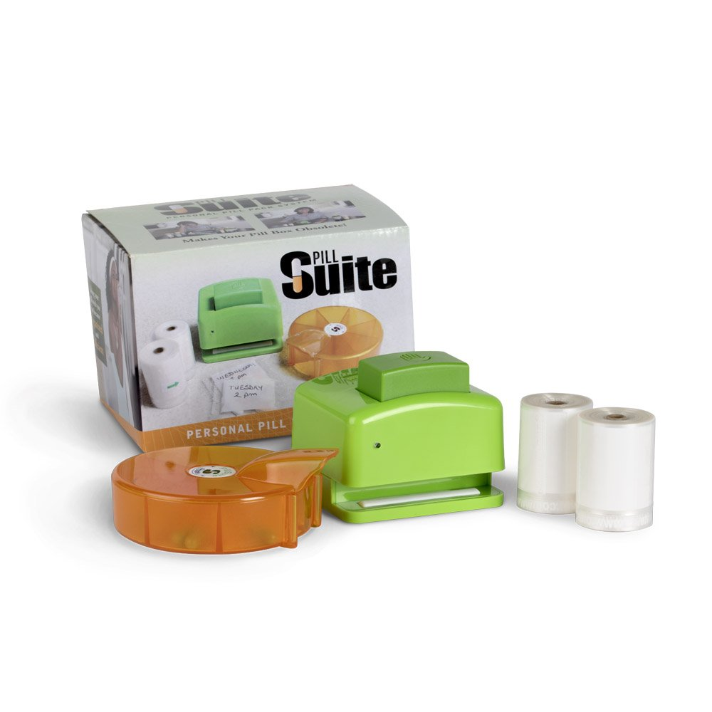 Pill Suite Personal Pill and Vitamin Pack System - includes 7-compartment sorter, pouch sealer, batteries and 400 easy-tear pill pouches
