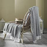 Country Club Contemporary Oslo Grey Geometric Design Fringed Bed/Sofa Throw 130x170cm