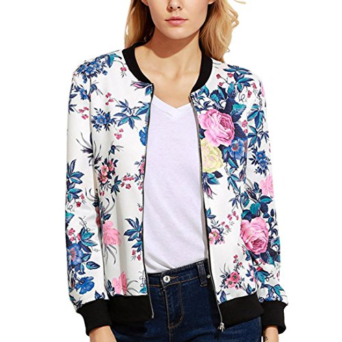 Gillberry Women Stand Collar Long Sleeve Zipper Floral Printed Bomber Jacket (E, S)