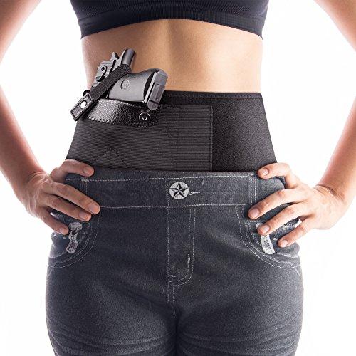 Hand Hip Holster (Merssyria Belly Band Holster for Concealed Carry, Right Hand & Left Hand Waist Band Pistol Holder, Handgun Elastic Holster for Men and Women)