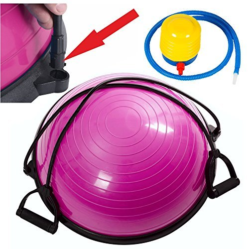 Pink 23″ Yoga Ball Balance Trainer Yoga Fitness Pilates Strength Exercise Resistance Bands, New Blue W/ Air Pump by SurSector product Review