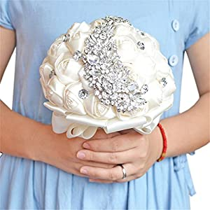 KUPARK Wedding Bouquet Bride Holding Flowers with S-shaped Rhinestone Diamond Brooch 2