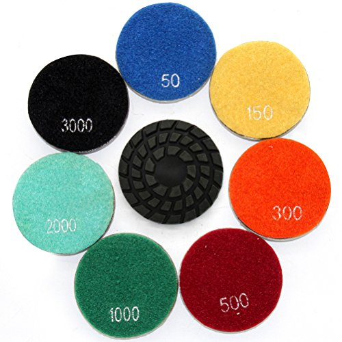 Easy Light 4 Inch Diamond Dry Floor Polishing Pads Resin Bond for Polish Concrete Stone 7 Pcs Grit 50-3000# (Polish Stone Machine compare prices)