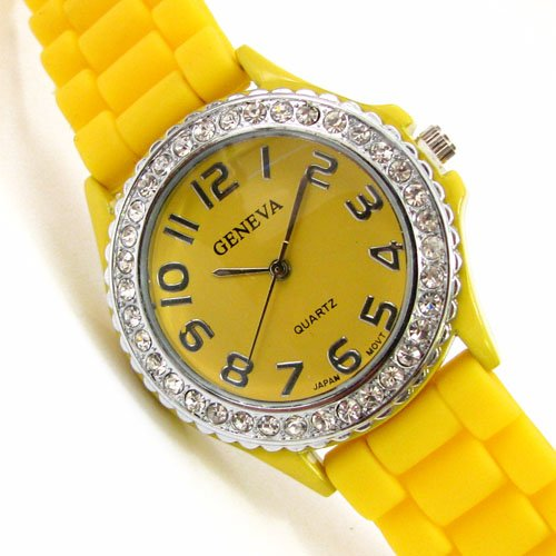 Yellow Silicone Band Watch in Ceramic Style with Rhinestones Cz - Toy Watch Jelly