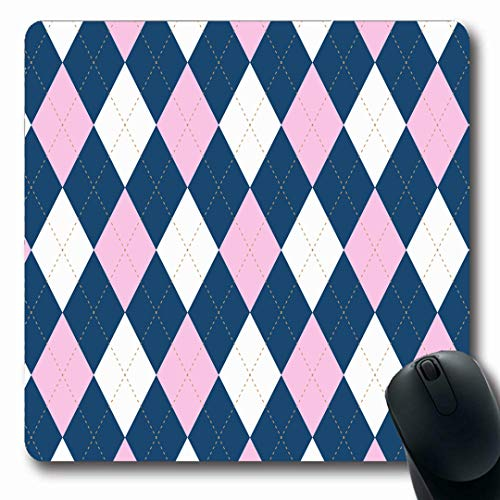 Ahawoso Mousepads Border Blue Argyle Plaid Pattern Palette Pink Jersey Golf Brown Baby Check Checkered Chequer Oblong Shape 7.9 x 9.5 Inches Non-Slip Gaming Mouse Pad Rubber Oblong Mat ()