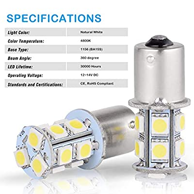 AUTOSAVER88 1156 LED Bulbs White, 1003 1141 7506 BA15S LED Bulb for RV Trailer Camper Interior Signal Backup Light, 10-Pack: Automotive