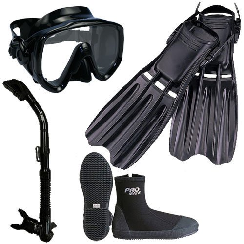 Fins Boots Snorkel Mask (PROMATE Scuba Diving Fins Boots Extra-Wide Mask Snorkel Set, AllBlack, Mens13/WoMens14)