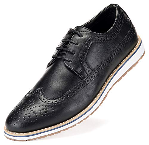 Mens Casual Shoes Classic Wingtip Oxford Business Dress Shoes for Men - in A Shoe Bag Black